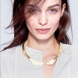 J. Crew Shaped Choker Necklace Gold Plated Torc